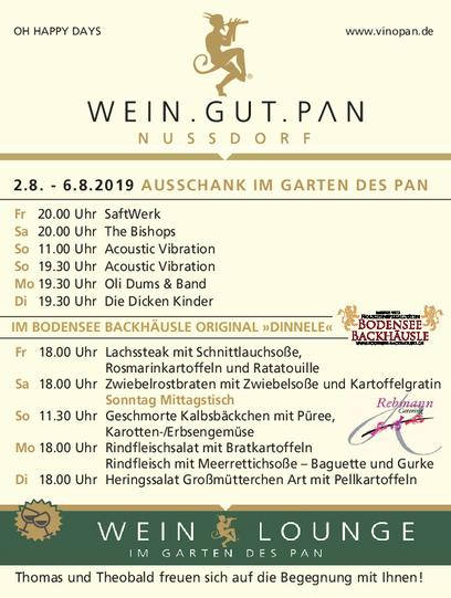 Das Programm Weinfest 2019 im WEIN.GUT.PAN